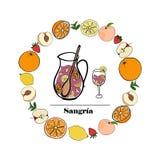 Kruik en glas sangria stock illustratie