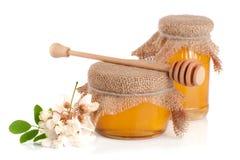 Kruik honing met bloemen van acacia op witte achtergrond Royalty-vrije Stock Foto's