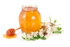 Kruik honing met bloemen van acacia op witte achtergrond Stock Foto's