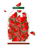 Kruik met fruitjam voor uw ontwerp Stock Fotografie
