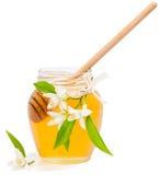 Kruik met honing en bloemen van sinaasappel Royalty-vrije Stock Foto's
