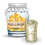 Kruik met muntstukken; het concept van universiteitsbesparingen Stock Foto