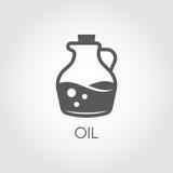 Kruik met olie Voedselpictogram in vlakke stijl Vector voor diverse recepten, kookboeken, culinaire plaatsen en andere projecten Stock Foto