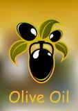 Kruik met olie, zwarte olijven en bladeren Stock Afbeeldingen