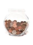 Kruik van Britse muntmuntstukken Stock Foto's