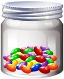 Kruik van kleurrijk suikergoed stock illustratie