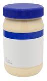 Kruik van Mayonaise met leeg etiket Stock Foto's