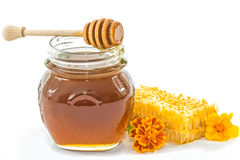 Kruik verse honing stock foto