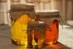 Kruiken honing Verschillende types van honing Honey Jar royalty-vrije stock fotografie