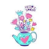 Kruiken met boeketten en bloemenkroon Hand getrokken vectordieillustratie op witte achtergrond wordt geïsoleerd Hello-de Lente he royalty-vrije illustratie