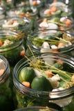 Kruiken met ingrediënten voor groenten in het zuur Royalty-vrije Stock Foto's
