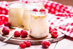 Kruiken met yoghurt, frambozen en havervlokken stock foto's