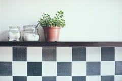 Kruiken op de keukenplank Stock Afbeeldingen