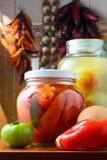 Kruiken van groenten in het zuur royalty-vrije stock afbeeldingen