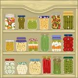 Kruiken van groenten in het zuur stock illustratie