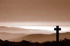 Kruis in berg Stock Fotografie