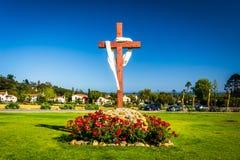 Kruis bij Oude Opdracht Santa Barbara, in Santa Barbara, Californië stock foto