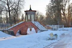 Kruis de brug in Alexander Park in de winter Pushkin, Tsaren Stock Foto