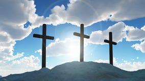 Kruis drie op heuvel Calvary stock fotografie