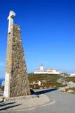 Kruis en vuurtoren van Cabo DA Roca, Portugal Stock Afbeelding