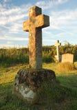Kruis gevormde grafsteen Stock Afbeelding