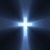 Kruis met blauwe lichte gloed Stock Foto