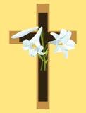 Kruis met de lelies van Pasen Vector Illustratie