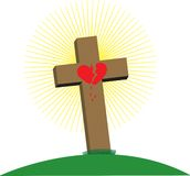 Kruis met Gebroken Hart Stock Afbeeldingen