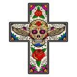 Kruis met gevleugelde die suikerschedel op witte achtergrond wordt geïsoleerd Royalty-vrije Stock Foto