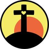 Kruis met hart Stock Afbeelding