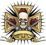 Kruis met schedel en psitols Stock Afbeelding