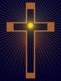 Kruis met starburst op blauw Vector Illustratie