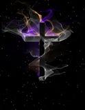 Kruis met stromende vormen royalty-vrije stock afbeeldingen