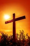 Kruis met zon royalty-vrije stock afbeeldingen