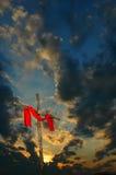 Kruis met Zonsondergang Stock Foto
