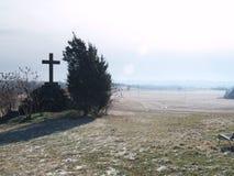 Kruis op de heuvel Stock Foto