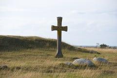 Kruis op heuvel Stock Afbeelding