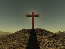 Kruis op heuvel duidelijke sjy Stock Fotografie