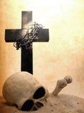 Kruis schedel en van de beenderendag des oordeels concept Royalty-vrije Stock Afbeelding