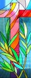Kruis van gebrandschilderd glasvenster Stock Afbeeldingen