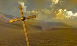 Kruis van goud wordt gemaakt dat Stock Foto's