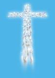 Kruis van witte vliegende duiven in perspectief Royalty-vrije Stock Afbeeldingen