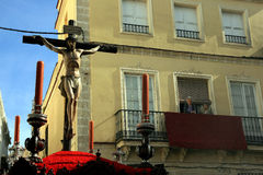 Kruisbeeld, de viering van Pasen in Jerez Spanje Stock Afbeelding