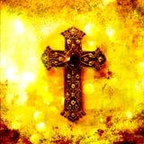 Kruisbeeld op Geweven Achtergrond Stock Foto