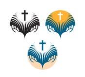 Kruisbeeldsymbool Kruisiging van Jesus Christ-pictogrammen Kerkembleem Stock Foto