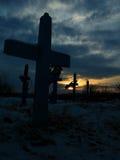 Kruisen in een Begraafplaats Royalty-vrije Stock Afbeelding