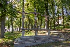 Kruisen Jesus en de twee dieven op Calvary Internationale Shri Royalty-vrije Stock Afbeelding