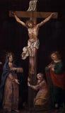 Kruisiging, Heilige Maagdelijke Mary en Heilige John onder het kruis Royalty-vrije Stock Foto's