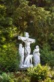 Kruisiging van Jesus aan het kruis wordt genageld dat Royalty-vrije Stock Foto