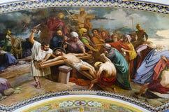 Kruisiging van Jesus-Christus Stock Afbeeldingen